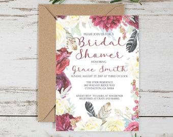 Fall Floral Bridal Shower Invitation // Fall Floral // Bridal Shower // Invitation // 5x7 // Printable // Digital