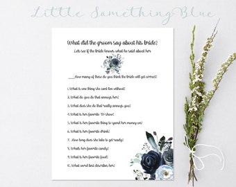 Printable Bridal Shower Game // Bridal Shower Game // Navy Floral // How well does the groom know his bride game // Printable