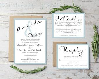 Classic Wedding Invitation Set // Wedding Invitation Set // Simple // Digital // Printable // Custom // Personalized