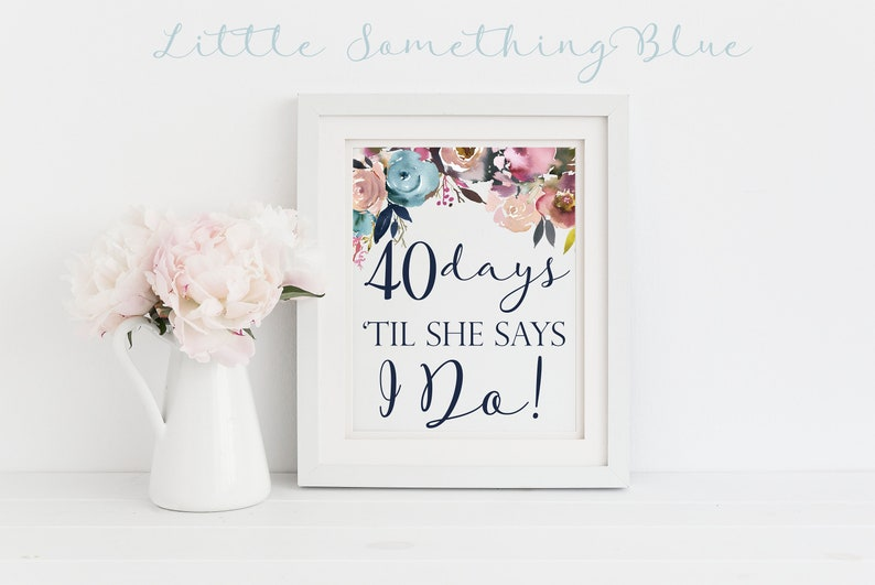 Bridal Shower Wedding Day Countdown Digital Sign Wedding Countdown Navy And Blush Floral 8 5x11 Digital Download Printable