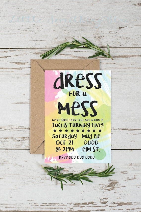 dress for a mess paint party invitation template paint etsy
