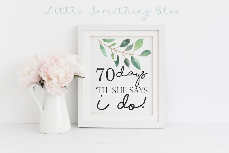 Printable Greenery Wedding Day Countdown Sign Wedding Countdown Bridal Shower Sign Countdown Eucalyptus Greenery Printable