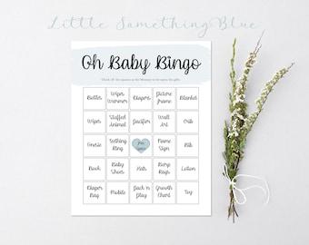 Printable Baby Shower Bingo // Baby Boy  // Blue // Baby Shower Bingo Cards // Baby Bingo Cards // Baby Bingo Game // Baby Bingo Printable