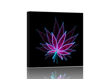 Cannabis Weed Neon Leaf Giclee Canvas Wall Art