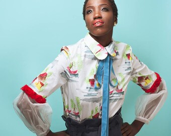 Cotton Watercolor Print Blouse With Silk Organza and Rosette Detail