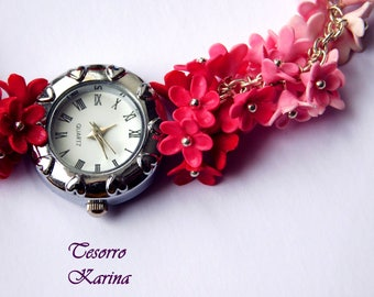 """Bracelet-watch """"Symphony of the Transition"""" from crimson to white, flower bracelet-watch with color transition, flower bracelet-watch"""