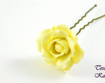hairpins for vanilla color hair, hairpins roses made of polymer clay, hairpins rose vanilla color,