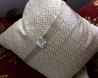 Handmade Decorative Designer Grey & White Geometric Pillow Cover with Pillow