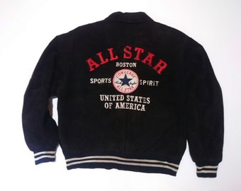 bb5264ce5853 Vintage CONVERSE ALL STAR Genuine Leather Jacket