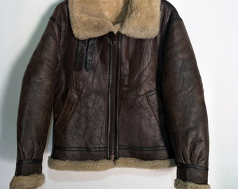 669ab4eb2021 Vintage B3 Shearling Sheepskin Leather Jacket Not Schott RBC McCoys Harley  Davidson