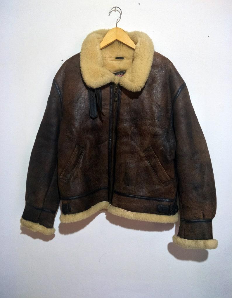 70e7a437a Vintage Type B-3 Shearling Sheepskin Leather Jacket Not Schott RBC McCoys  Harley Davidson