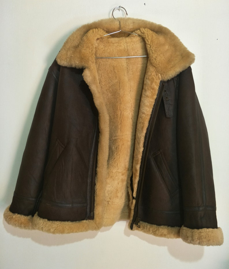 ed376b843 Vintage Robinson USA B-3 Shearling Sheepskin Leather Jacket Not Schott RBC  McCoys Harley Davidson