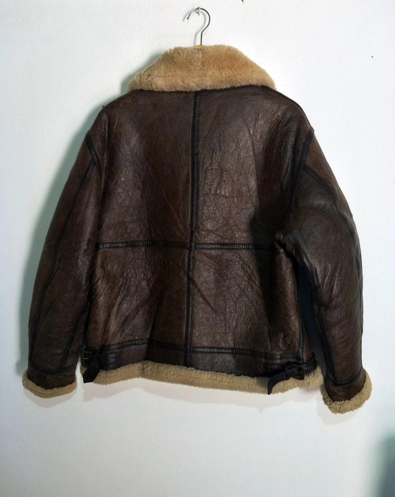6f001e0ff Vintage B3 Shearling Sheepskin Leather Jacket Not Schott RBC McCoys Harley  Davidson