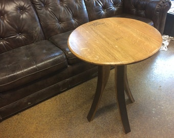 Hand crafted wine barrel table. Free shipping