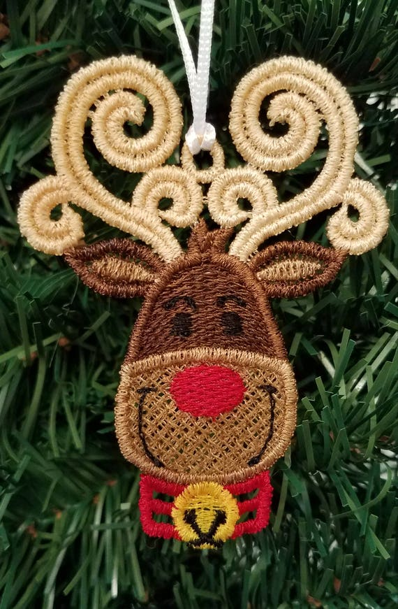 Free Standing Lace Christmas Ornament Reindeer Ornament Etsy