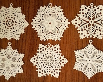 FSL snowflake ornaments - set of 6