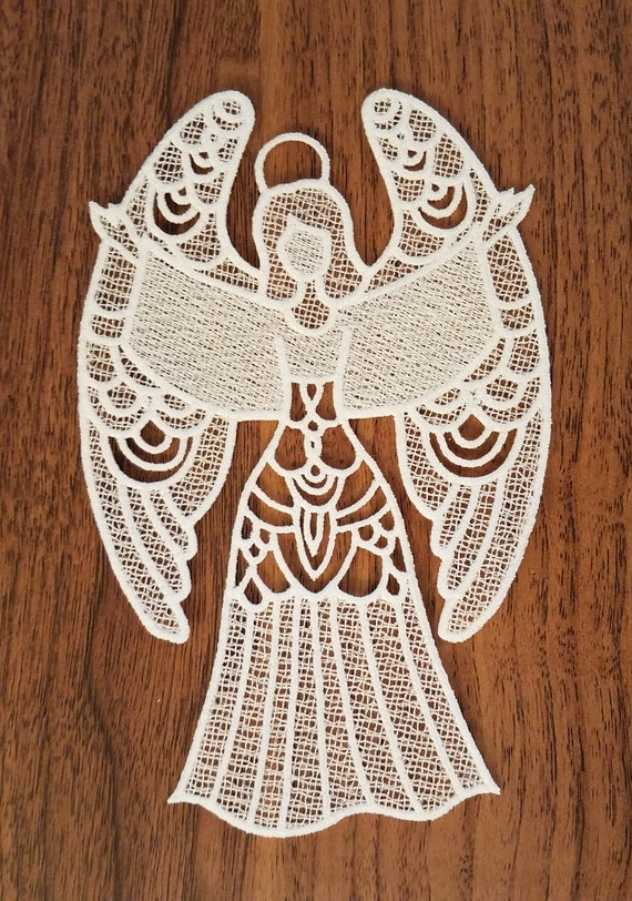 Large free standing lace angel ornament Christmas card insert gift ornament FSL machine embroidered