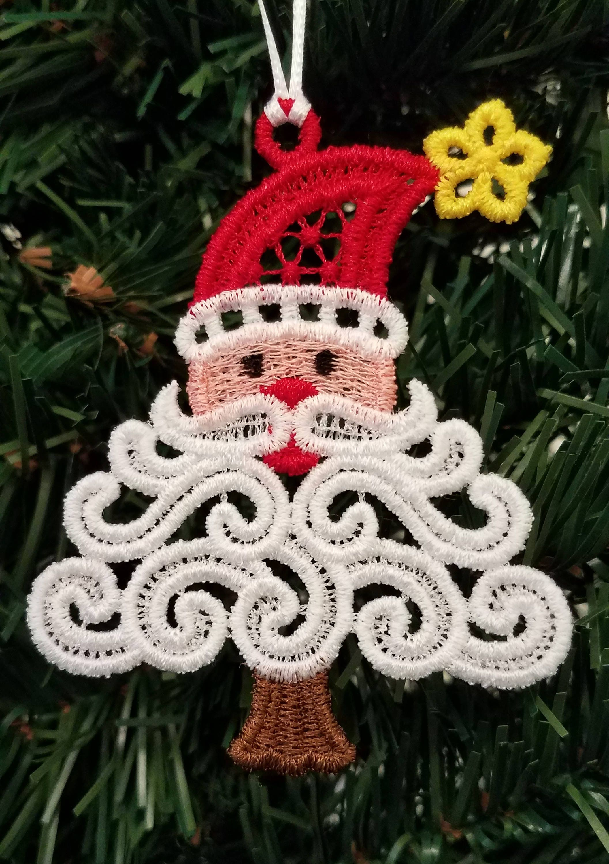 Free Standing Lace Christmas Ornament Santa Ornament Etsy