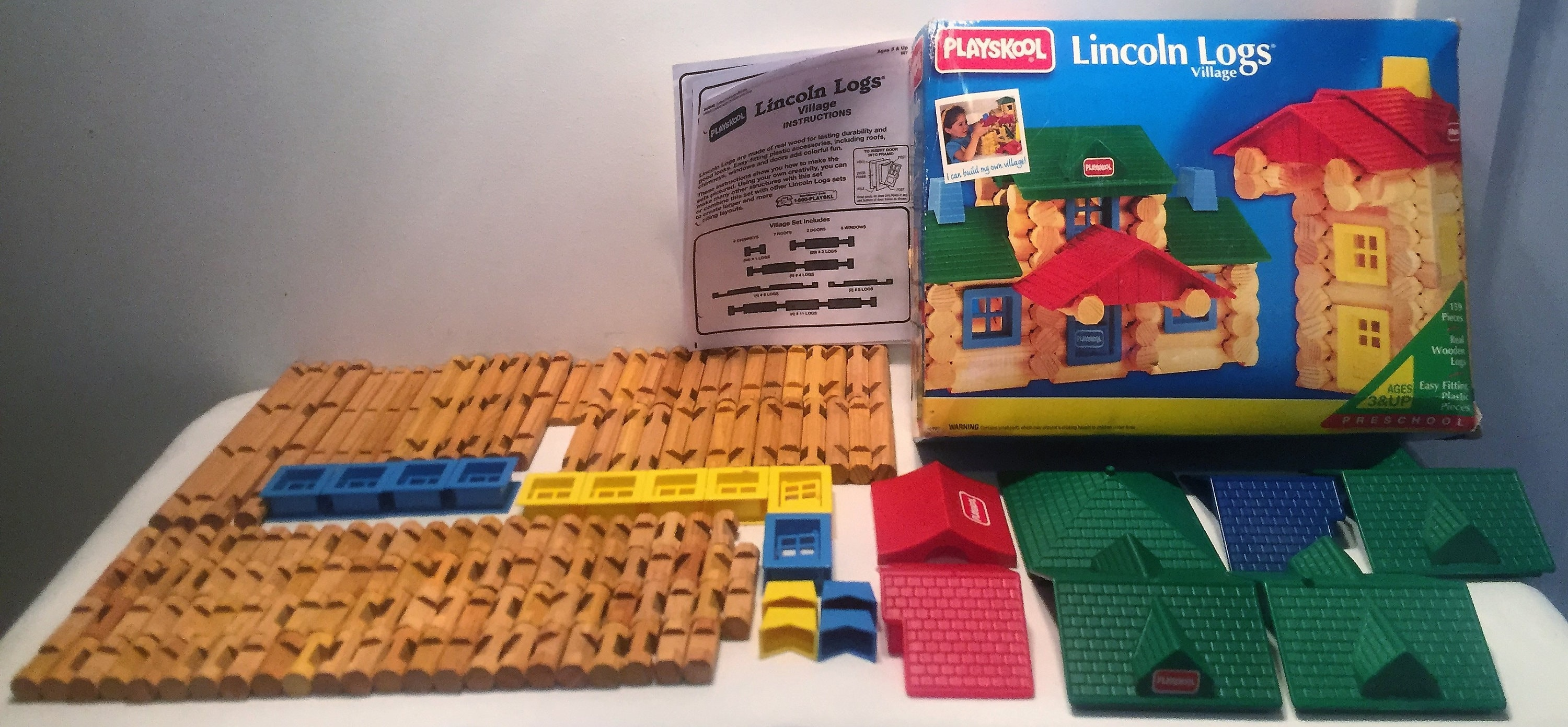 1992 Playskool Lincoln Logs Village Complete 159 Pc Set Free Shipping