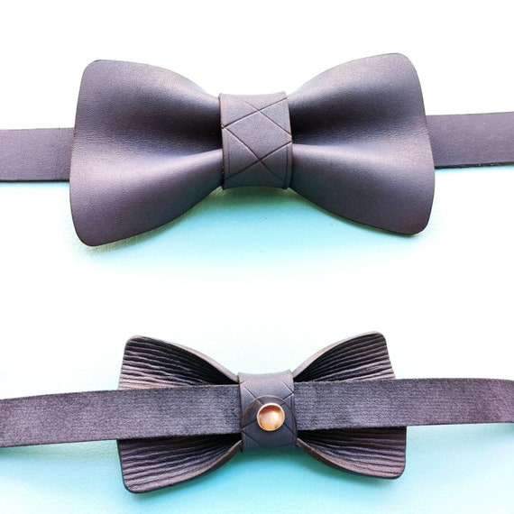Personalized handcrafted bi-color Leather Bow tie