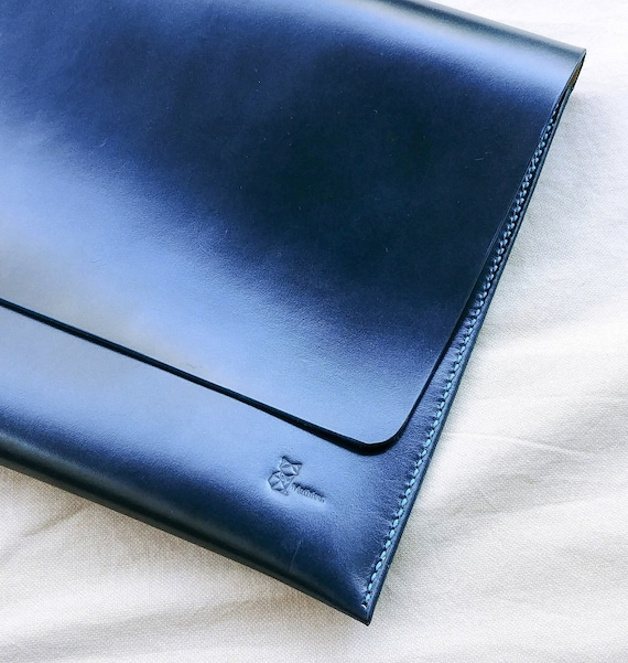 Leather Sleeve, Computer Bag, Leather Laptop Bag, Leather Case, 13 Inch, Surface Book 2, Blue, Handmade, Leather Computer Case, Laptop Case,