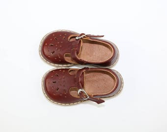 Ready to ship! 100% Genuine Leather  Shoes Sandals baby kids children s boy girl brown T-bar  mary jane vintage style