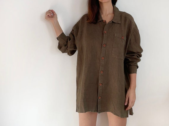 vintage FLAX oversized linen button down brown shi