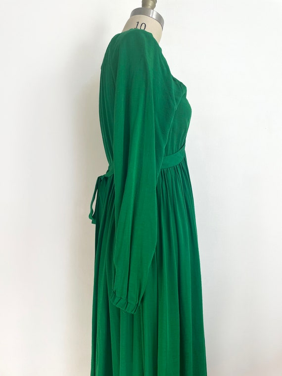 Vintage custom made maxi green dress | a line max… - image 5