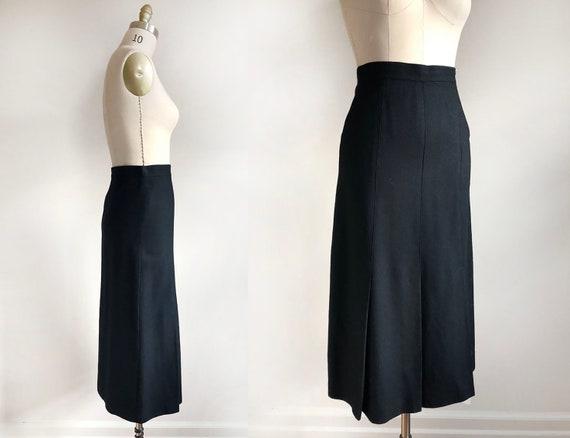 vintage pleated wool midi  skirt | 70s | black woo