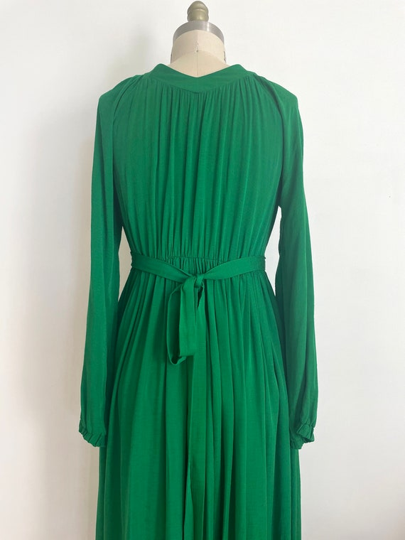 Vintage custom made maxi green dress | a line max… - image 6