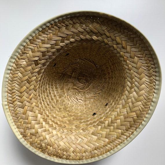 vintage woven natural straw hat | vintage hat | 9… - image 5