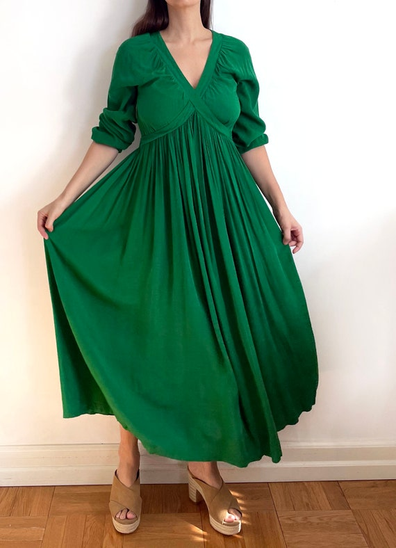 Vintage custom made maxi green dress | a line max… - image 9