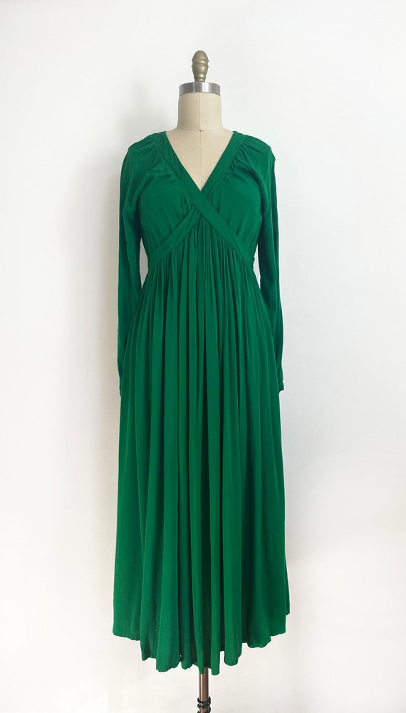 Vintage custom made maxi green dress | a line max… - image 2
