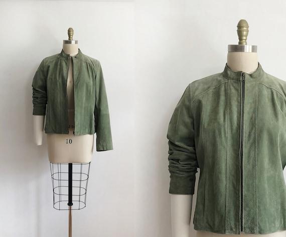 vintage green suede leather jacket - L  | 90s | le
