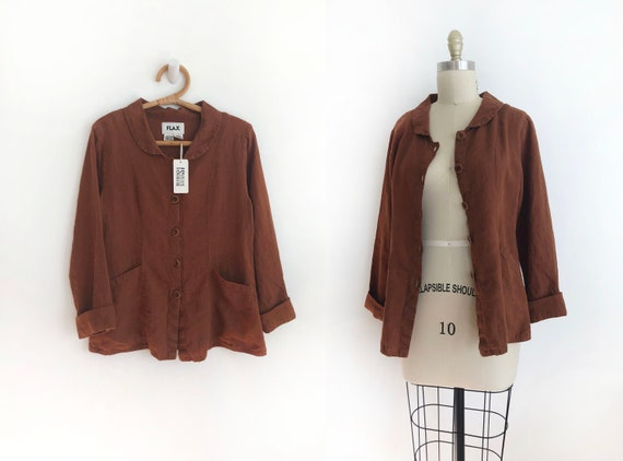 Modern vintage Flax linen jacket - small | copper