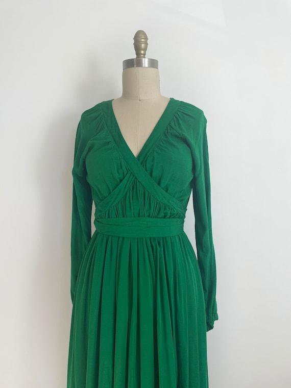 Vintage custom made maxi green dress | a line max… - image 7