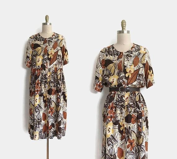 Modern vintage floral print shirt dress - 1X | plu