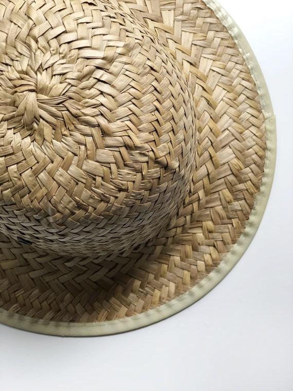 vintage woven natural straw hat | vintage hat | 9… - image 3