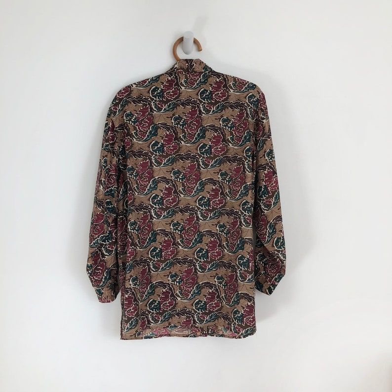 vintage silk shirt blouse fall print blouse floral print silk shirt blouse Small silk blouse 90s vintage shirt blouse