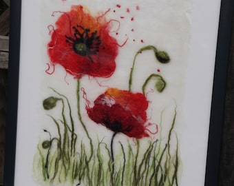 Watercolor Poppies Felted Wall Art