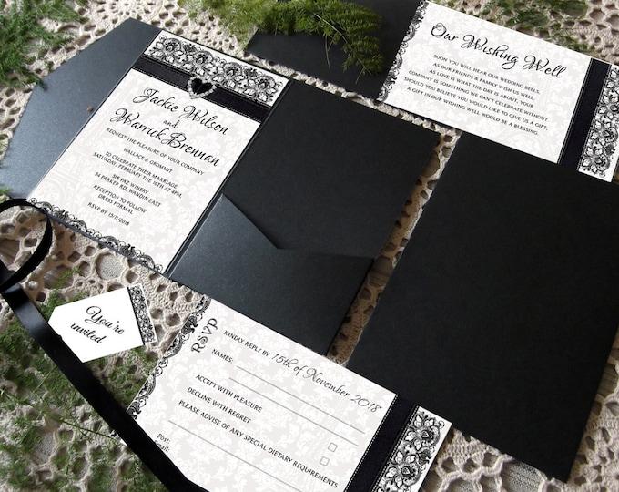 Custom Listing for Jax Black & White Formal Wedding Invitation Package, Set of 28 Pocket Folds, RSVP, Wishing Wells, Envelopes.