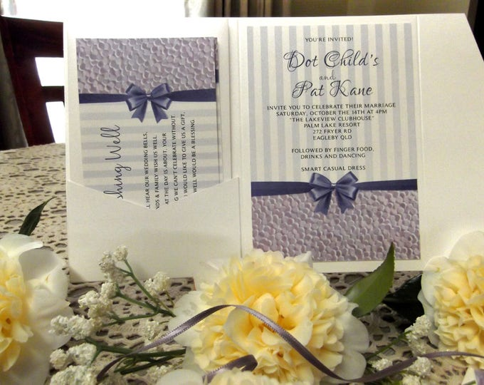 Printed Wedding Invitation sets, Pocket Folds, RSVP, Wishing Well Cards, Matching Envelopes. EVERYTHING! #PrintedWeddingInvitations