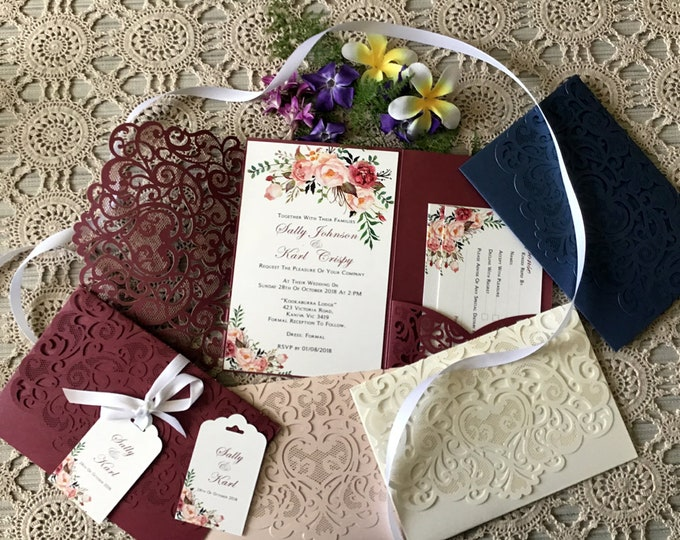 Wedding Invitation Package, Laser Cut Burgundy, Navy Blue, Blush, Pocket Folds, RSVP, Wishing Wells, Envelopes, Invitation Suite / Package