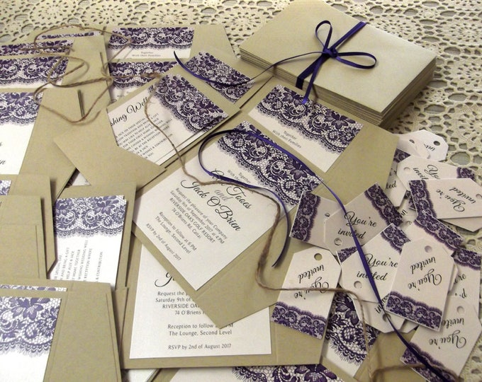 Rustic Printed Wedding Invitation sets, Recycled Kraft Paper Pocket Folds, RSVP, Wishing Well Cards, Matching Envelopes.  EVERYTHING!