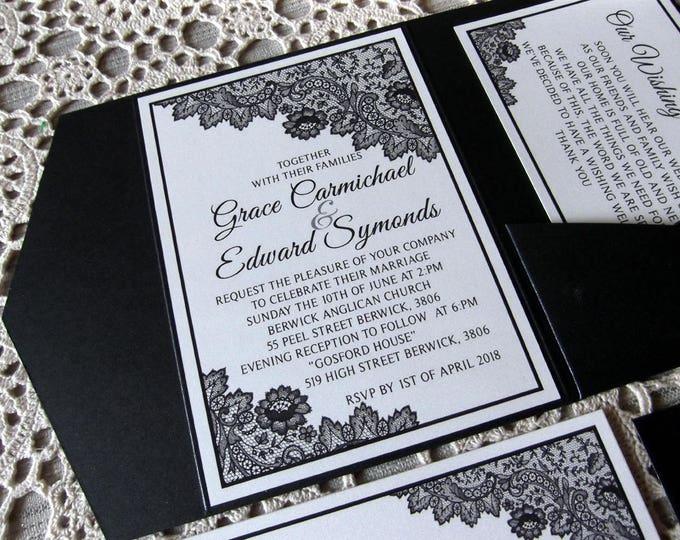 Shimmer Black Formal Wedding Invitation Package, Pocket Folds, RSVP, Wishing Wells, Envelopes. Invitation Suite / Set #WeddingInvites