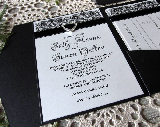 Shimmer Black Formal Wedding Invitation Package, Pocket Folds, RSVP, Wishing Wells, Envelopes. Invitation Suite / Set #WeddingInvites