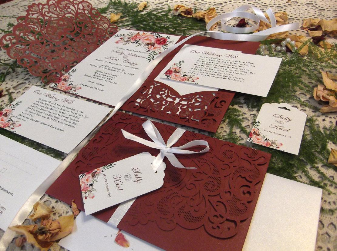 Wedding Invitation Package, Laser Cut Burgundy, Navy Blue, Blush ...