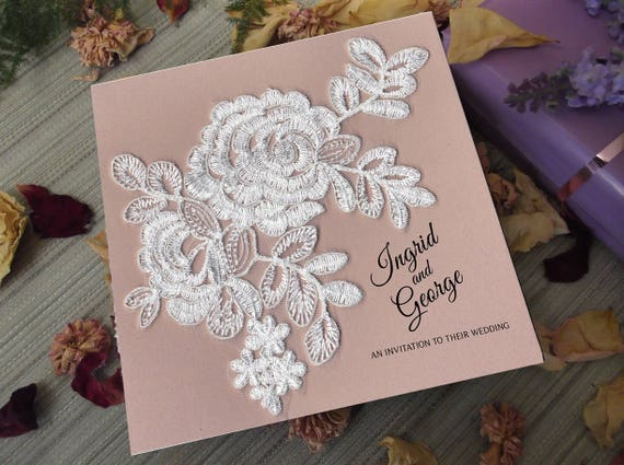 Blush And Ivory Wedding Invitations: Blush & Ivory Lace 25 Card Wedding Invitation Package With