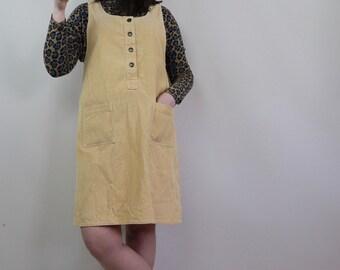 0f8e272a12c4 Vintage 90s Buttermilk Yellow Cord Pinafore Dress - Size M