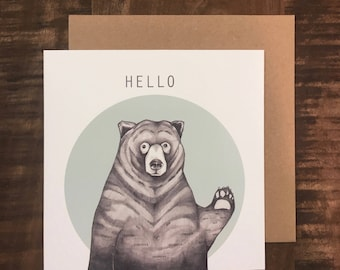HELLO // bear greeting card // bear card